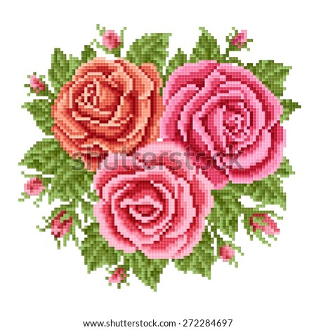 bouquet of the roses, embroider - stock vector