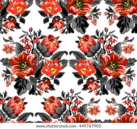 Bouquet of wildflowers (lilia, bellflower, barberry flower and cornflowers) in red and black tones using traditional Ukrainian embroidery elements.  Seamless. Pattern. - stock vector