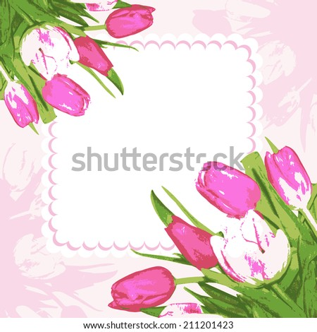 Bouquet tulips and frame. Background decoration beautiful flowers. Vector illustration. - stock vector