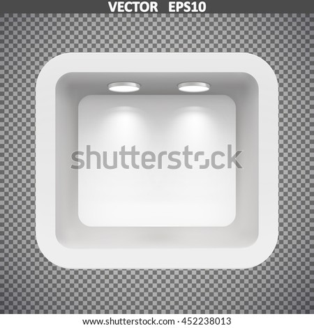 Boutique in the top wall with light sources. Illustration isolated. Graphic concept for your design - stock vector