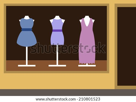 Boutique, women's clothing shop, shop show-window, vector illustration - stock vector