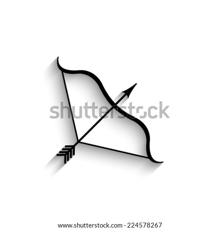 Bow and Arrow - black vector icon with shadow - stock vector