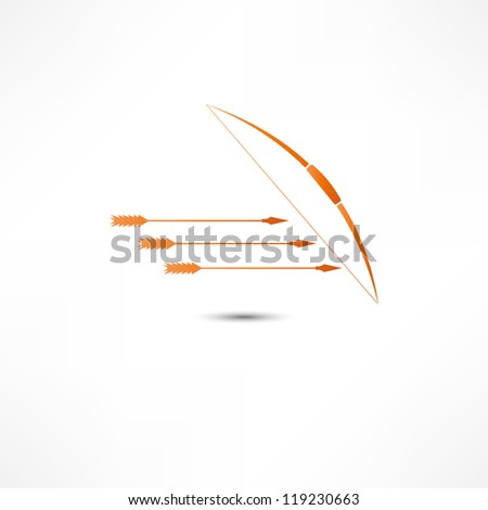 Bow And Arrow Icon - stock vector