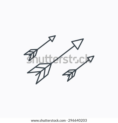 Bow arrows icon. Hunting sport equipment sign. Archer weapon symbol. Linear outline icon on white background. Vector - stock vector