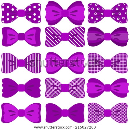 Bow collection (fully editable, elements not merged together, patterns easily removed in vector programs)  - stock vector