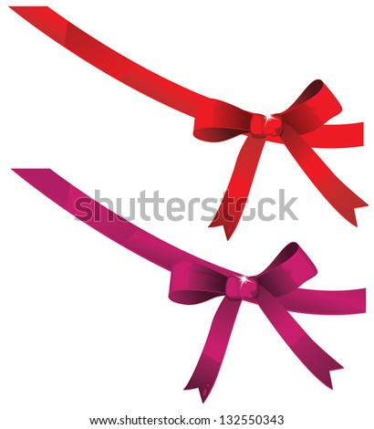 Bow decorated with sequins. EPS10. Contains transparent objects used for sequins drawing. - stock vector