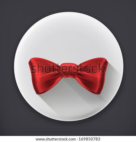 Bow tie, long shadow vector icon - stock vector