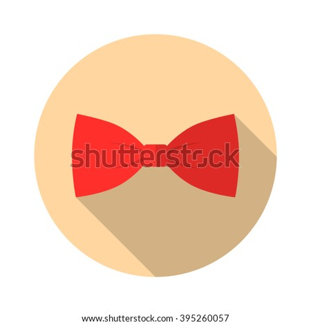 Bow Tie Vector flat Icon with long shadow. - stock vector