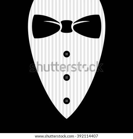 Bow tie with shirt, buttons and man black suit illustration. - stock vector