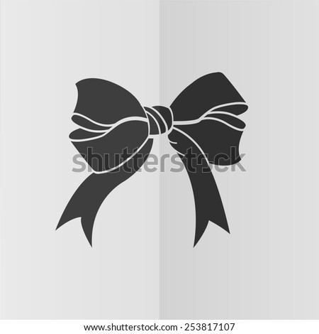 Bow vector icon. Effect of folded paper. Flat design - stock vector