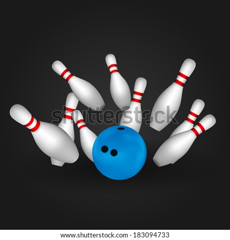 Bowl and bowling pins. Bowling concept. - stock vector