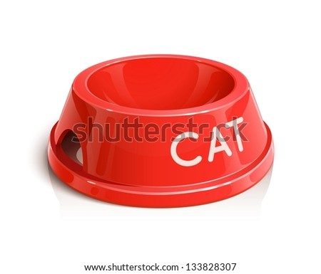 bowl for animal vector illustration isolated on white background EPS10. Transparent objects and opacity masks used for shadows and lights drawing - stock vector