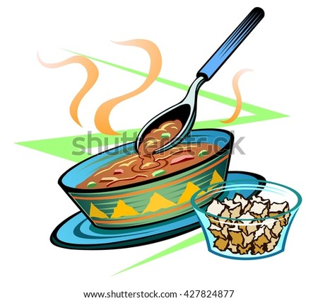 Bowl of menudo, or other thick stew, with croutons - stock vector