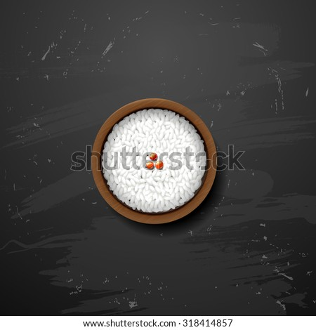 Bowl of white rice on  blackboard - stock vector