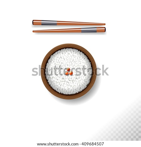 Bowl of white rice with chopsticks on blackboard isolated on white or transparent background - stock vector