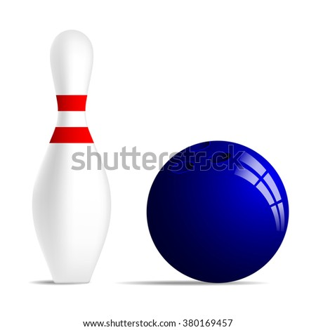 Bowling ball and bowling pin with two red stripes. Realistic bowling ball and bowling skittle with two red stripes. Isolated on white background. Stock vector illustration. - stock vector