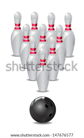 Bowling Ball and Pins - stock vector