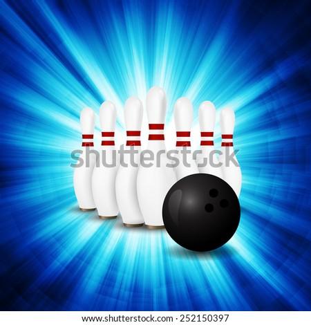 Bowling Ball crashing and skittles. - stock vector