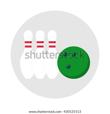 Bowling ball icon. Objects isolated on a white background. Flat vector illustration. - stock vector