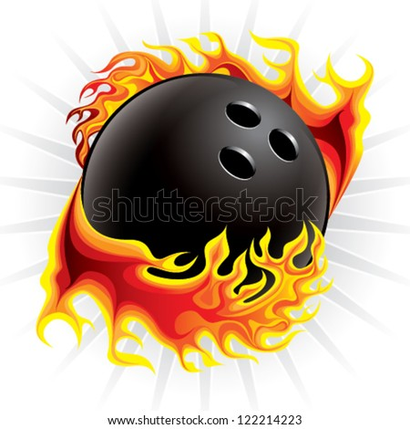 bowling ball in flame - stock vector