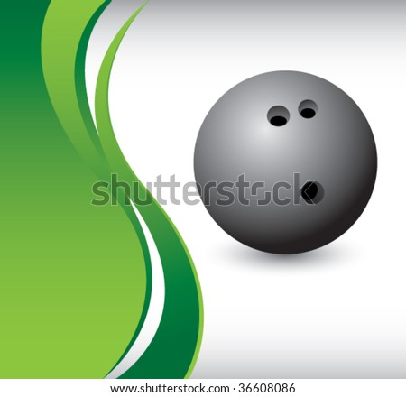 bowling ball on vertical wave background - stock vector