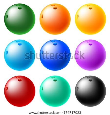 Bowling ball set - stock vector
