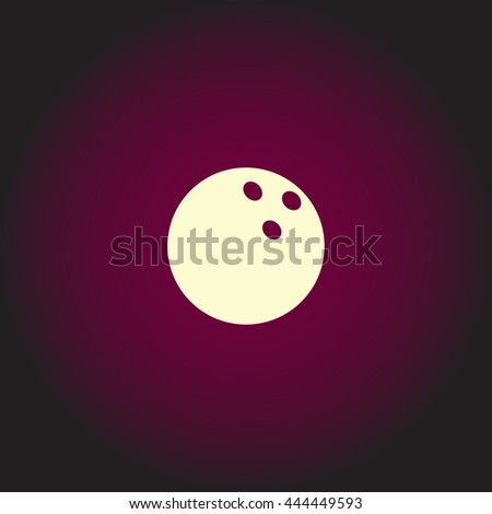 Bowling ball. White vector icon on dark background. Flat pictogram - stock vector
