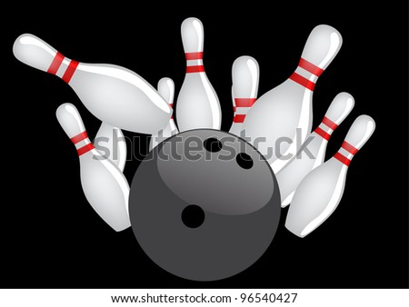 Bowling ball with pins - stock vector