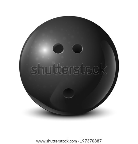 Bowling ball with texture isolated on white background. Vector illustration - stock vector
