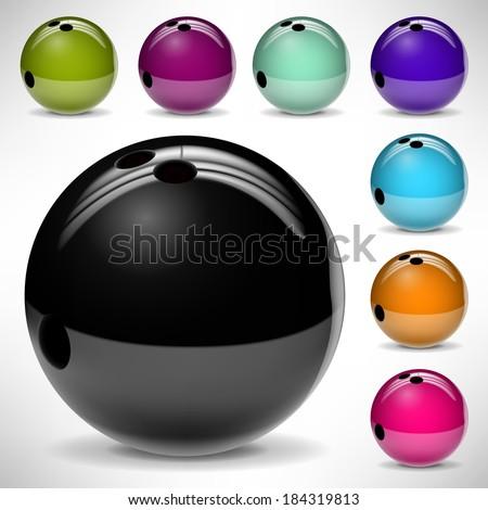Bowling balls - stock vector