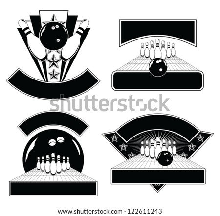 Bowling Design Emblem Templates is an illustration of four Bowling Design Templates including bowling balls, pins, and lanes. Great for t-shirts. - stock vector