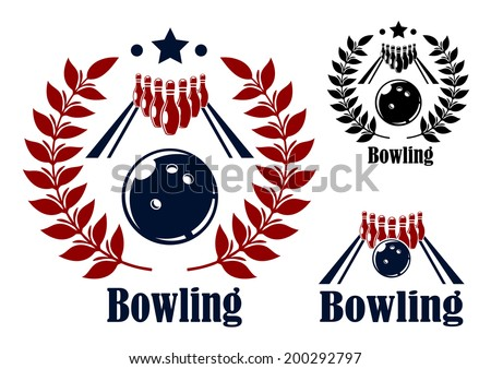 Bowling emblems and symbols logo set with a bowling ball and alley with the pins in the background in three variants with and without circular laurel wreaths - stock vector