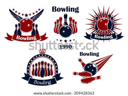Bowling game retro icons or emblems with strike, balls, ninepins, wings, stars, rays, crown and ribbon banners - stock vector