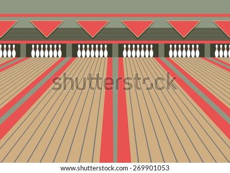 bowling lane - stock vector