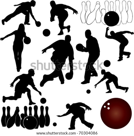 bowling people silhouettes - stock vector