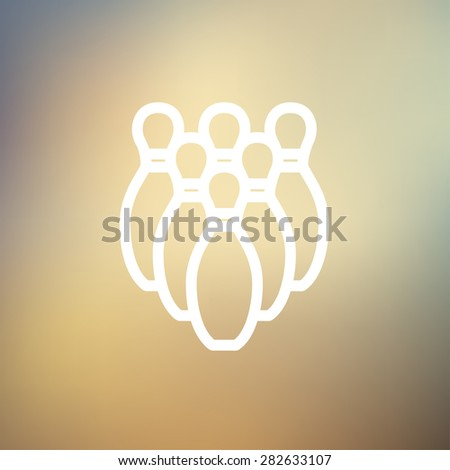 Bowling pins icon thin line for web and mobile, modern minimalistic flat design. Vector white icon on gradient mesh background. - stock vector