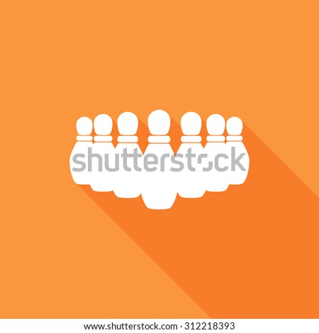 Bowling Pins icons set. Vector Illustration eps10. Flat icon with long shadow.  - stock vector