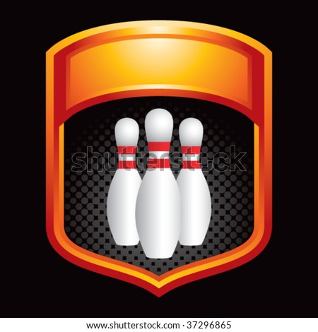 bowling pins on display crest - stock vector