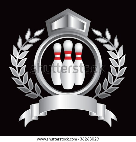 bowling pins on royal crest - stock vector