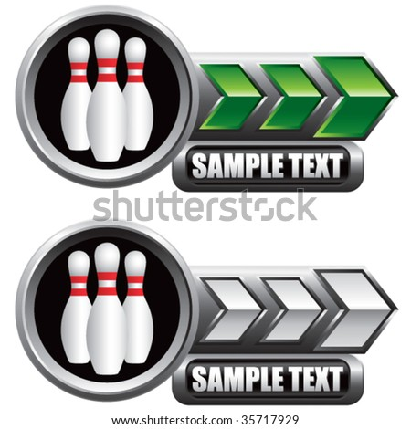 bowling pins on shiny arrow banners - stock vector