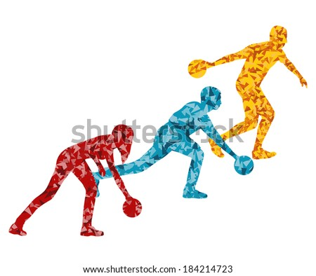Bowling player silhouette vector background concept - stock vector