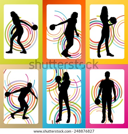 Bowling player silhouettes vector set background concept - stock vector