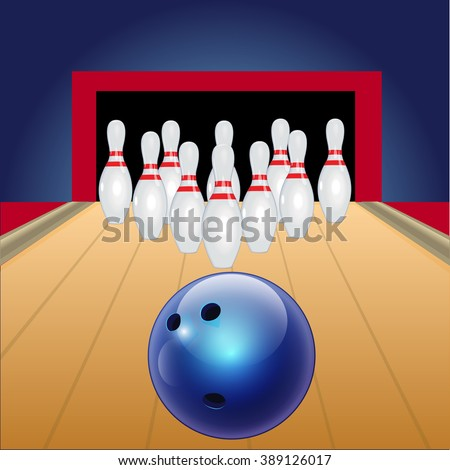 Bowling. Playing bowling. Skittles on a track. Blue ball on a bowling track. - stock vector