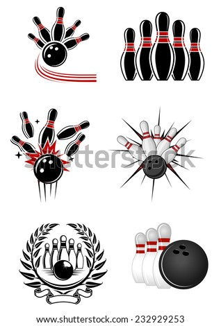 Bowling sports emblems and symbols with ball, ninepins and laurel wreath - stock vector