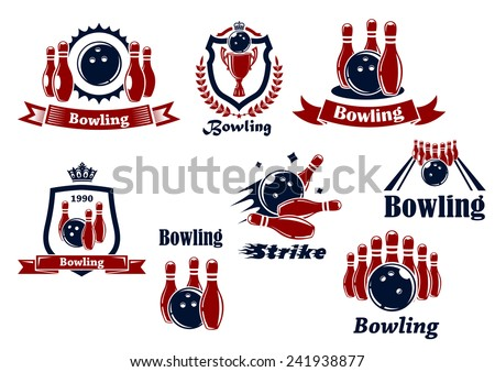 Bowling team or club emblems and icons with bowling balls, ninepins, alley, trophy, shields, banners, crowns, wreath and captions Bowling, Strike in dark blue and red colors - stock vector