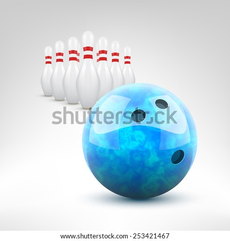 Bowling vector illustration. Blue bowling ball and pins isolated. - stock vector