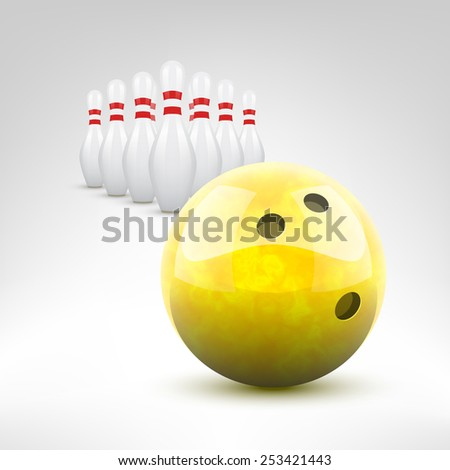 Bowling vector illustration. Yellow bowling ball and pins isolated. - stock vector