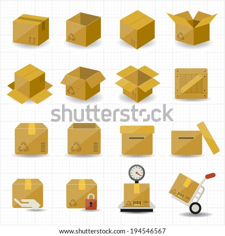 Box and Package Icon - stock vector