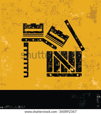 Box,cargo design on yellow background,grunge vector - stock vector