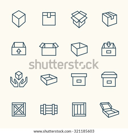 Box icon set - stock vector